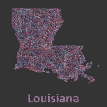 Louisiana line art map - red, blue and white on black background