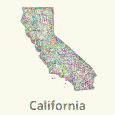 California line art map from colorful curved lines