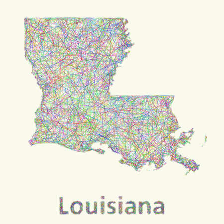 Louisiana line art map from colorful curved lines