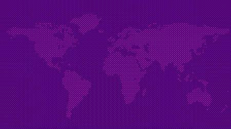 Illustration pour Halftone world map background - vector circle pattern graphic design - image libre de droit