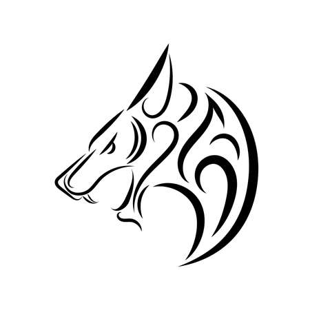 Illustration pour Black and white line art of wolf head. Good use for symbol, mascot, icon, avatar, tattoo, T Shirt design, logo or any design you want. - image libre de droit