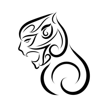 Illustration pour Black and white line art of monkey head. Good use for symbol, mascot, icon, avatar, tattoo, T Shirt design, logo or any design you want. - image libre de droit