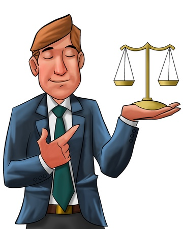 lawyer with his eyes closed holding a scale