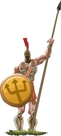 Spartan Hoplite holding his spear