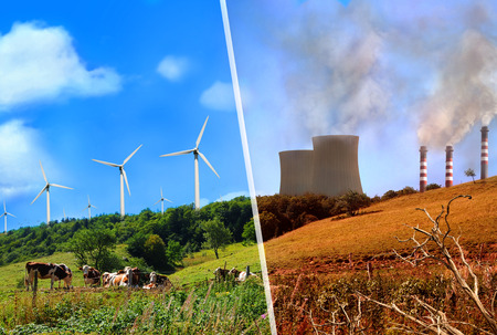 Photo pour Comparison of plant renewable energy and energy factories classic. Mountain landscape clean and healthy vs dirty and polluted. - image libre de droit