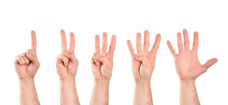 Photo pour Count to five with five hands starting with the index finger with white isolated background. Horizontal composition. - image libre de droit