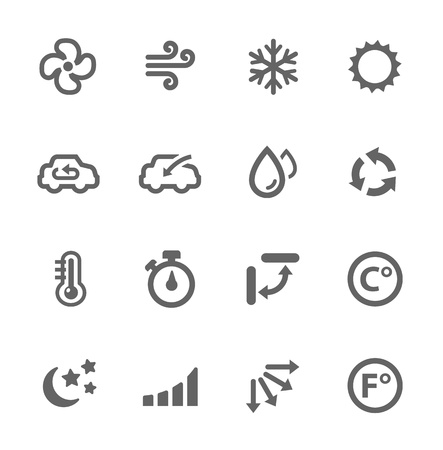 Simple set of air conditioning related vector icons for your design