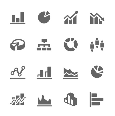 Simple set of diagram and graphs related vector icons for your design