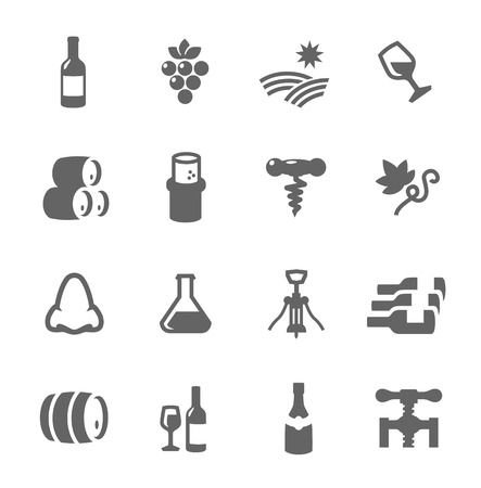 Simple set of Wine related vector icons for your design or application