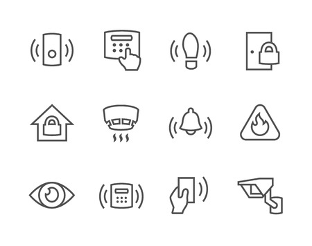 Outline Perimeter security icons