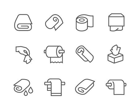 Simple Set of Towels and Napkins Related Vector Icons for Your Design.