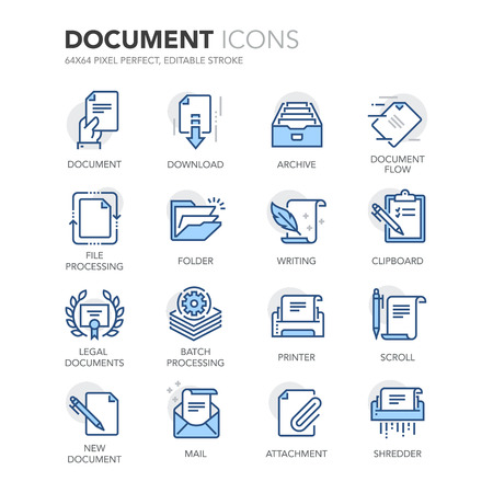 Illustration pour Simple Set of Document Related Color Line Icons. Contains such Icons as Batch Processing, Legal Documents, Clipboard, Download, Document Flow and more. - image libre de droit