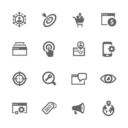 Vektor für Simple Set of SEO Related Icons. Contains Such Icons as Increase Sales, Site Optimization, Social Network and More. - Lizenzfreies Bild