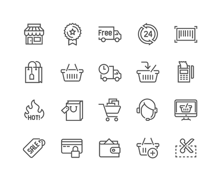 Illustration pour Simple Set of Shopping Related Line Icons. Contains such Icons as Shop, Delivery, Shopping bag, Sale, Wallet, Online Support and more. Editable Stroke. 48x48 Pixel Perfect. - image libre de droit