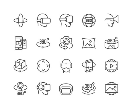 Ilustración de Simple Set of 360 Degree Image and Video Related Vector Line Icons. - Imagen libre de derechos