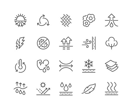 Illustration pour Simple Set of Fabric Feature Related Vector Line Icons. Contains such Icons as Waterproof, Layered Structure, Breathable Fiber, Ultraviolet Protection and more. Editable Stroke. 48x48 Pixel Perfect. - image libre de droit