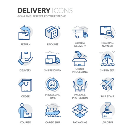 Ilustración de Simple Set of Delivery Related Color Vector Line Icons. Contains such Icons as Loading, Express Delivery, Tracking Number Search, Cargo Ship and more. Editable Stroke. 64x64 Pixel Perfect. - Imagen libre de derechos