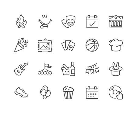 Illustration pour Simple Set of Event Related Vector Line Icons. Contains such Icons as Bonfire, Guitar, Popcorn, Party, Festival and more. Editable Stroke. 48x48 Pixel Perfect. - image libre de droit