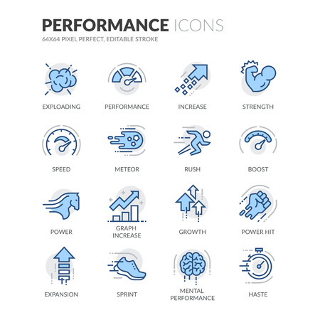 Illustration pour Simple Set of Performance Related Color Vector Line Icons. Contains such Icons as Expansion, Power, Haste, Speed, Growth and more. Editable Stroke. 64x64 Pixel Perfect. - image libre de droit