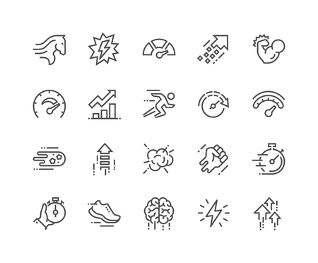 Illustration pour Simple Set of Performance Related Line Icons. Contains such Icons as Power, Speed, Graph, Sprint, Boost, Brain, Gain and more. Editable Stroke. 48x48 Pixel Perfect. - image libre de droit