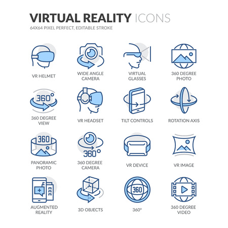 Illustration pour Simple Set of Virtual Reality Related Color Vector Line Icons. Contains such Icons as VR Helmet, 360 Degree Camera, Panoramic Photo and more. Editable Stroke. 64x64 Pixel Perfect. - image libre de droit