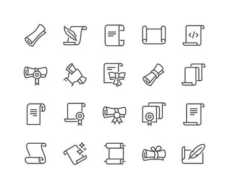 Illustration pour Line Scrolls and Papers Icons - image libre de droit