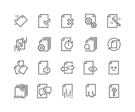 Illustration pour Line Document Flow Management Icons - image libre de droit