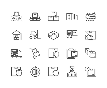 Illustration pour Line Package Delivery Icons - image libre de droit