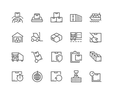 Ilustración de Line Package Delivery Icons - Imagen libre de derechos