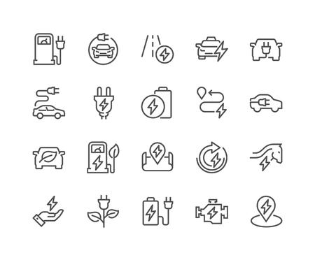 Illustration pour Line Electro Car Icons - image libre de droit