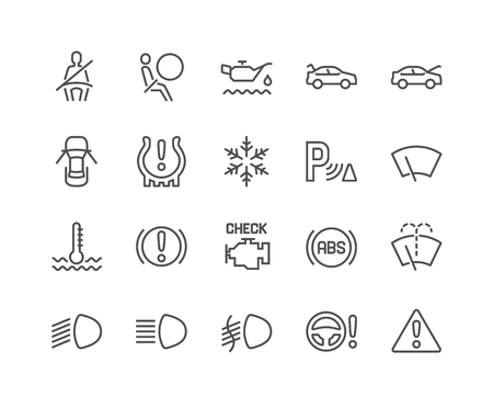 Illustration for Line Car Dashboard Icons - Royalty Free Image