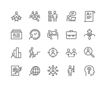 Illustration pour Line Head Hunting Icons - image libre de droit