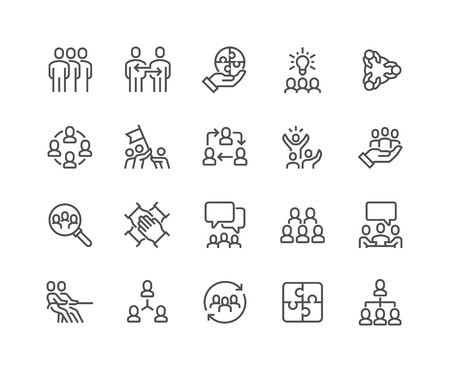 Illustration for Line Team Work Icons - Royalty Free Image