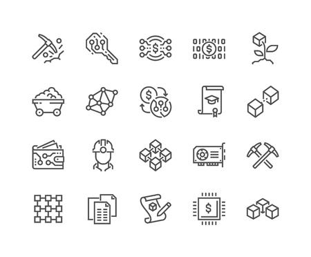 Vektor für Line Blockchain Icons - Lizenzfreies Bild