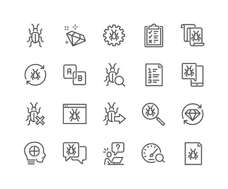 Illustration pour Line Quality Assurance Icons - image libre de droit