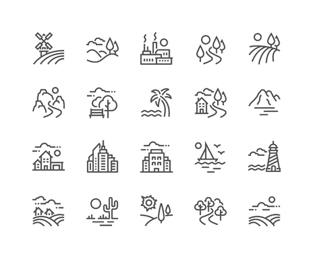 Simple Set of Landscape Related Vector Line Icons. Contains such Icons as Farm, Megapolis, Desert and more. Editable Stroke. 48x48 Pixel Perfect.