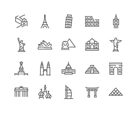 Illustration pour Line Landmarks Icons - image libre de droit