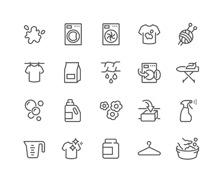 Illustration pour Simple Set of Laundry Related Vector Line Icons. Contains such Icons as Washing Machine, Dryer, Dirt T-shirt and more. Editable Stroke. 48x48 Pixel Perfect. - image libre de droit