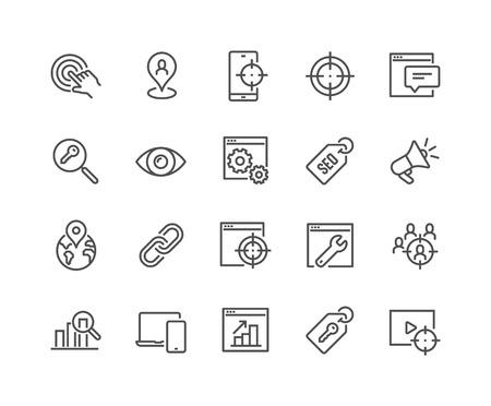 Illustration pour Simple Set of SEO Related Vector Line Icons. Contains such Icons as Target, Watch List, Website Stats and more. Editable Stroke. 48x48 Pixel Perfect. - image libre de droit