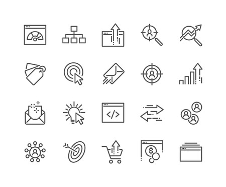 Illustration pour Simple Set of SEO Related Vector Line Icons. Contains such Icons as Increase Sales, Traffic Management, Social Networks and more. Editable Stroke. 48x48 Pixel Perfect. - image libre de droit