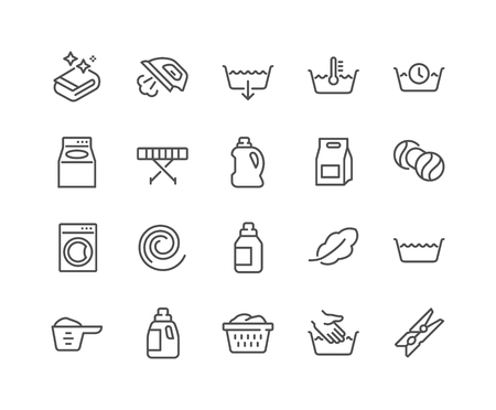 Simple Set of Laundry Related Vector Line Icons. Contains such Icons as Measuring Cup, Ironer, Front and Top Load and more. Editable Stroke. 48x48 Pixel Perfect.