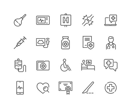 Illustration pour Simple Set of Medical Related Vector Line Icons. Contains such Icons as Doctor, Ultrasound, Case History and more. Editable Stroke. 48x48 Pixel Perfect. - image libre de droit