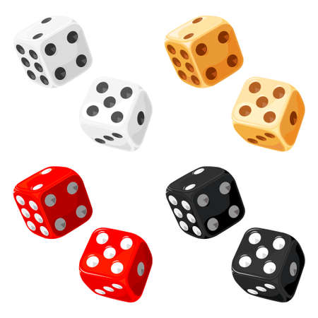 Dice. Vector without gradients and transparencies.