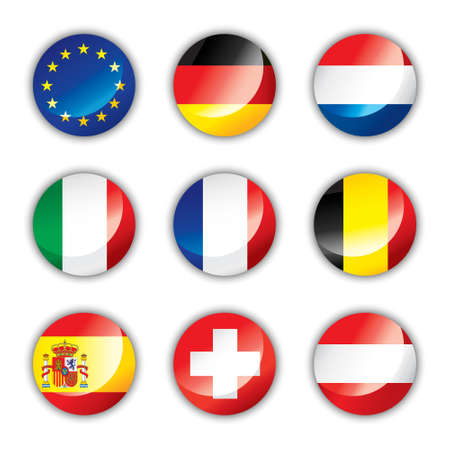 Glossy button flags - Europe one