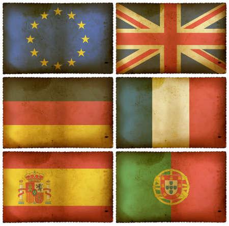 Vintage flags set - Europe