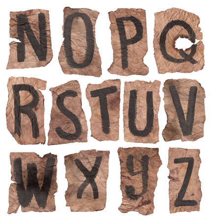 Crumpled letters from N to Z
