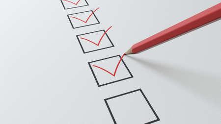 Photo pour 3d render checklist a red pencil will tick in black squares - image libre de droit