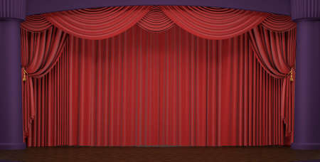 Photo pour Theater stage with velvet red curtains in a studio - image libre de droit