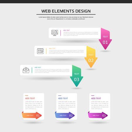 Illustration for Gradient web element design set - Royalty Free Image