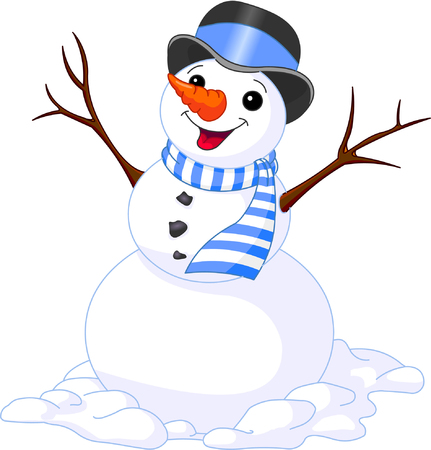 christmas illustration of funny cute snowman